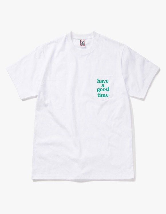 have a good time Logo Pocket S/S Tee - White/Green | HEIGHTS. | 하이츠 온라인 스토어