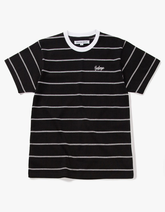 IZOLA NYC Pin Stripe S/S Tee - Black | HEIGHTS. | 하이츠 온라인 스토어