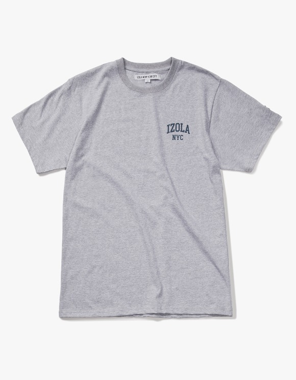 IZOLA NYC Arch Logo S/S Tee - Heather Grey | HEIGHTS. | 하이츠 온라인 스토어