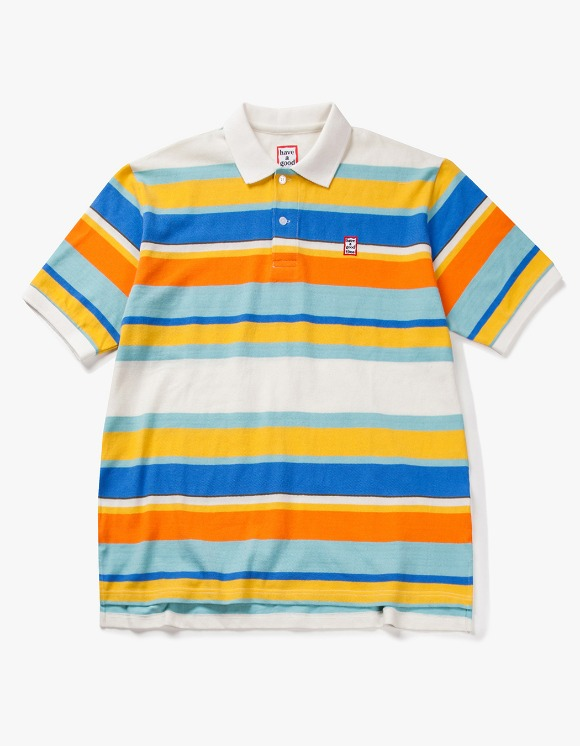 have a good time Colorful Boarder S/S Polo Shirt - White | HEIGHTS. | 하이츠 온라인 스토어