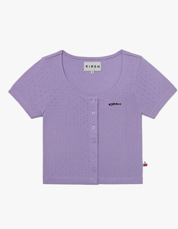 KIRSH U-Neck Button Tee IH - Purple | HEIGHTS. | 하이츠 온라인 스토어