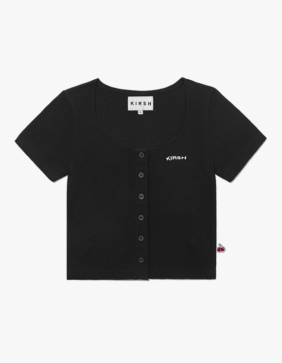 KIRSH U-Neck Button Tee IH - Black | HEIGHTS. | 하이츠 온라인 스토어