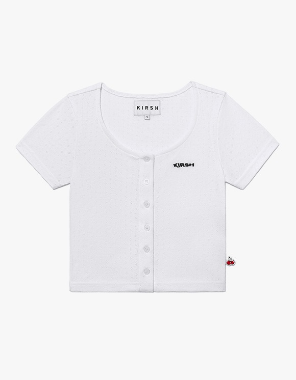 KIRSH U-Neck Button Tee IH - White | HEIGHTS. | 하이츠 온라인 스토어