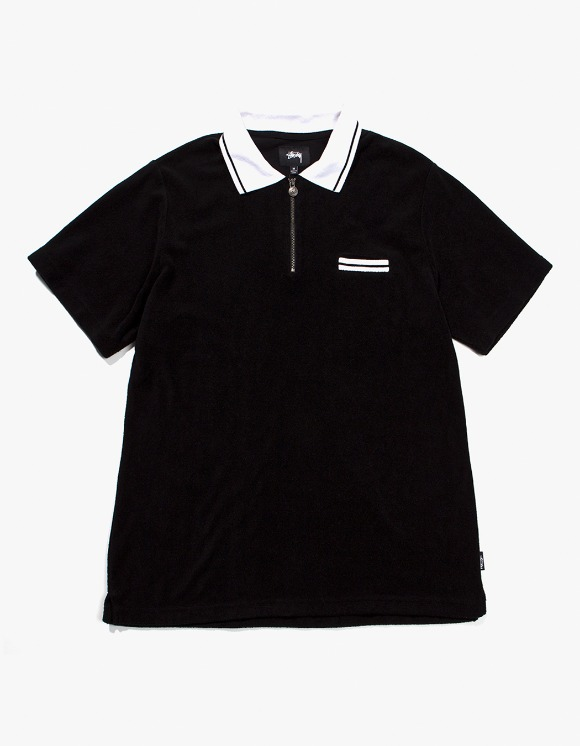 Stussy Terry Lion Zip Polo - Black | HEIGHTS. | 하이츠 온라인 스토어