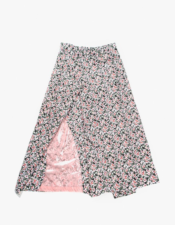 Gliese 581 Color Block Folding Skirt - Floral with Neon Pink | HEIGHTS. | 하이츠 온라인 스토어
