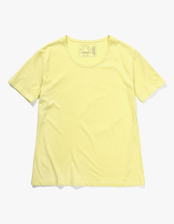 Gliese 581 Silket Cotton U Neck T-shirts - Neon Lemon | HEIGHTS. | 하이츠 온라인 스토어
