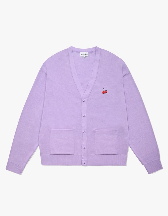 KIRSH SMALL CHERRY V NECK CARDIGAN IA - LIGHT VIOLET | HEIGHTS. | 하이츠 온라인 스토어