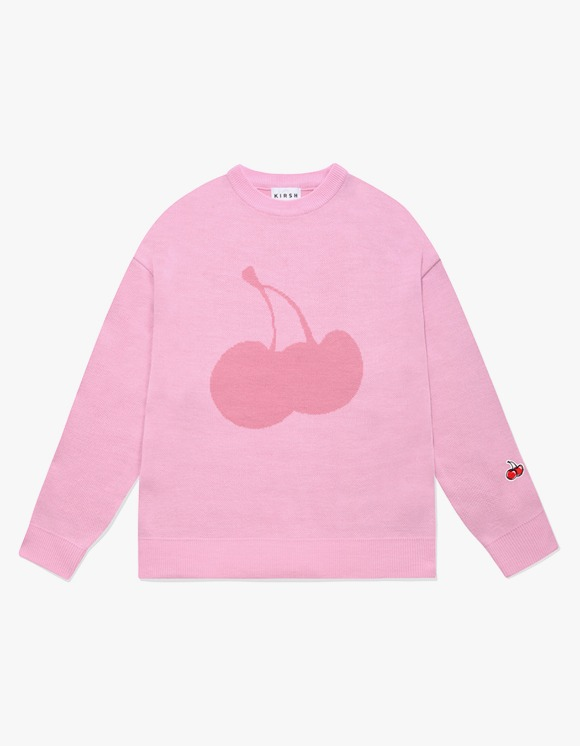 KIRSH [9월 2일 예약발송]CHERRY TONE ON TONE ROUND NECK KNIT IA - LIGHT PINK | HEIGHTS. | 하이츠 온라인 스토어