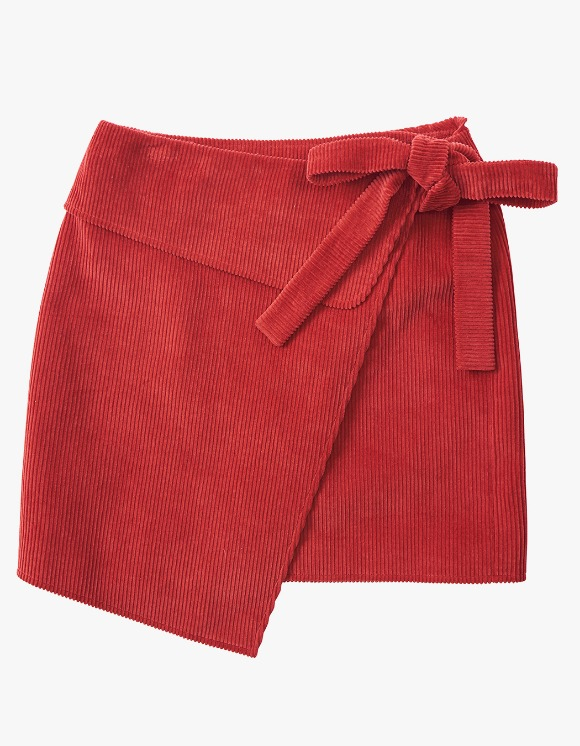 eyeye Corduroy Wrap Tie Skirt - Red | HEIGHTS. | 하이츠 온라인 스토어