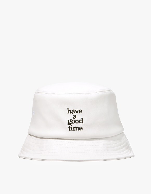 have a good time Logo Faux Bucket Hat - White | HEIGHTS. | 하이츠 온라인 스토어
