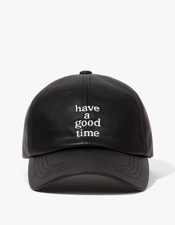 have a good time Logo Faux Leather Cap - Black | HEIGHTS. | 하이츠 온라인 스토어