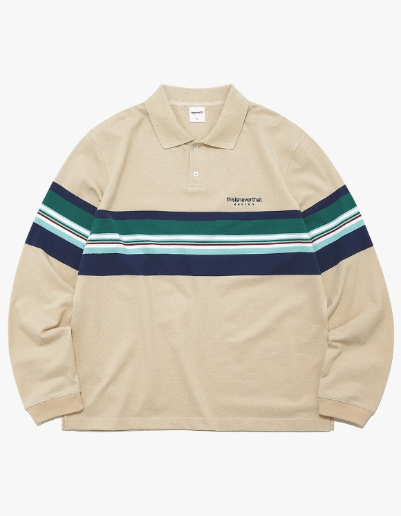 thisisneverthat L-Logo Striped Jersey Polo - Beige | HEIGHTS. | 하이츠 온라인 스토어