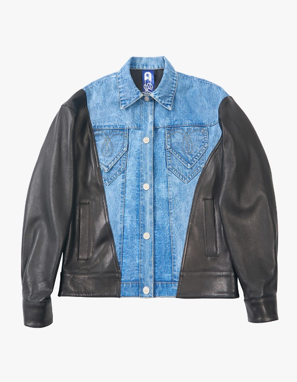eyeye Denim Leather Combination Jacket - Blue | HEIGHTS. | 하이츠 온라인 스토어