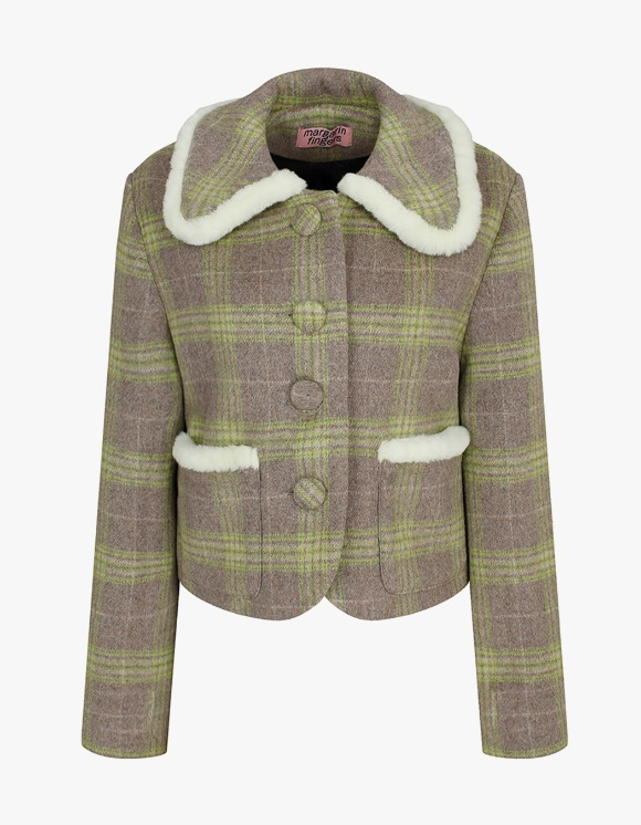 Margarin Fingers Fur Trimming Short Coat - Green Check | HEIGHTS. | 하이츠 온라인 스토어