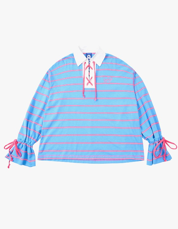 eyeye Strip Lace Up Rugby T-shirts - S.Blue | HEIGHTS. | 하이츠 온라인 스토어