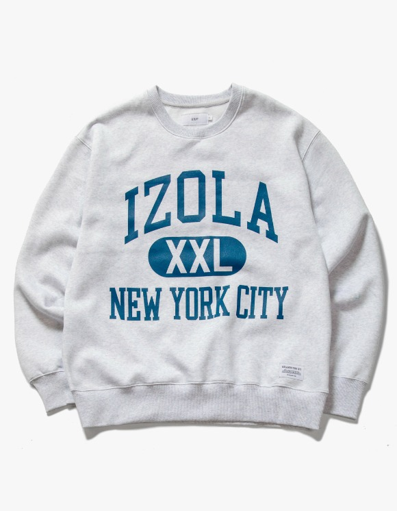 IZOLA NYC Big Logo Crewneck - Ash Grey | HEIGHTS. | 하이츠 온라인 스토어