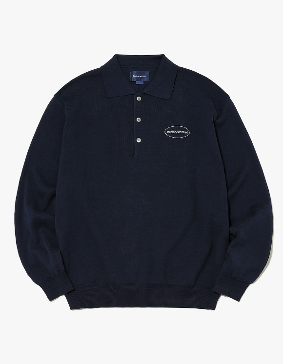 thisisneverthat E/T-Logo Knit Polo - Navy | HEIGHTS. | 하이츠 온라인 스토어