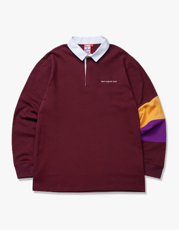 have a good time L/S Rugby Shirt - Maroon | HEIGHTS. | 하이츠 온라인 스토어