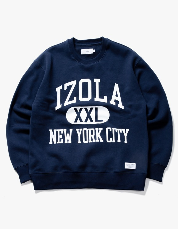 IZOLA NYC Big Logo Crewneck - Navy | HEIGHTS. | 하이츠 온라인 스토어