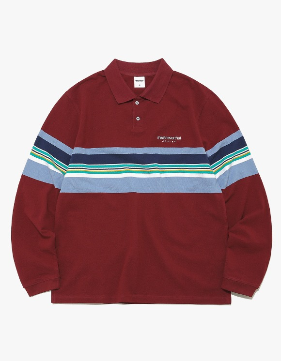 thisisneverthat L-Logo Striped Jersey Polo - Burgundy | HEIGHTS. | 하이츠 온라인 스토어