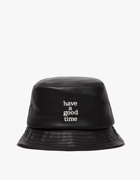 have a good time Logo Faux Bucket Hat - Black | HEIGHTS. | 하이츠 온라인 스토어