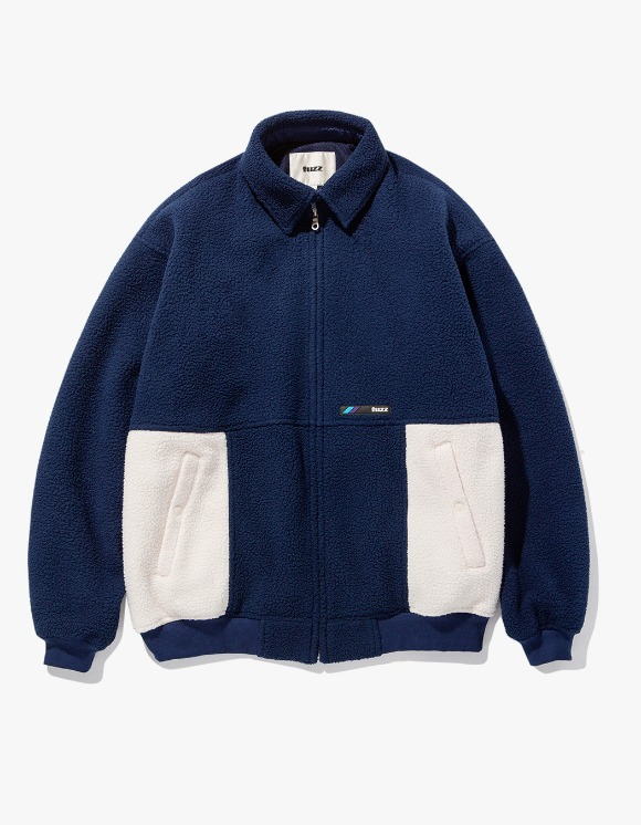 Fuzz FUZZ FLEECE HARRINGTON JACKET navy | HEIGHTS. | 하이츠 온라인 스토어