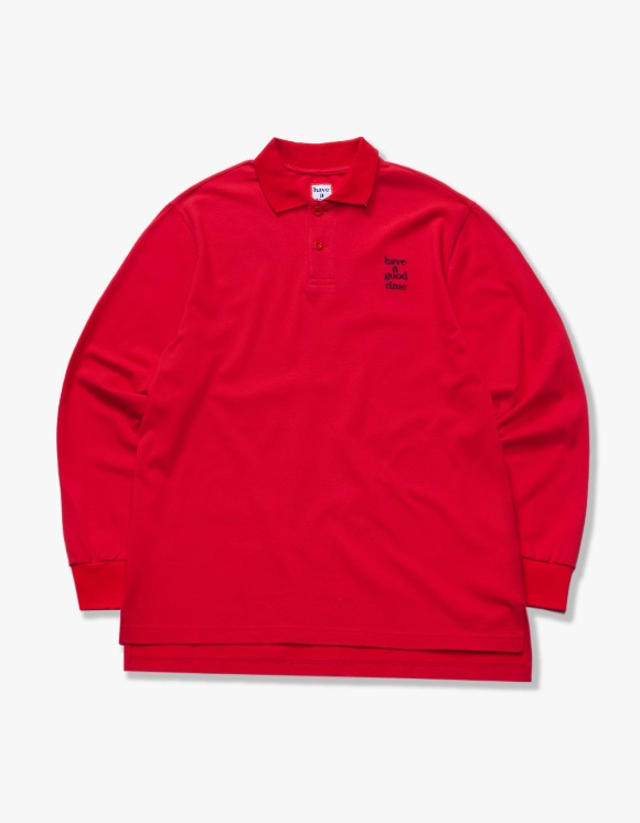 have a good time Logo L/S Polo Shirts - Red | HEIGHTS. | 하이츠 온라인 스토어