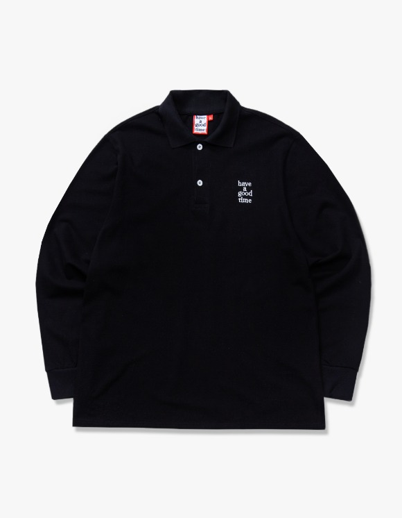 have a good time Logo L/S Polo Shirts - Black | HEIGHTS. | 하이츠 온라인 스토어