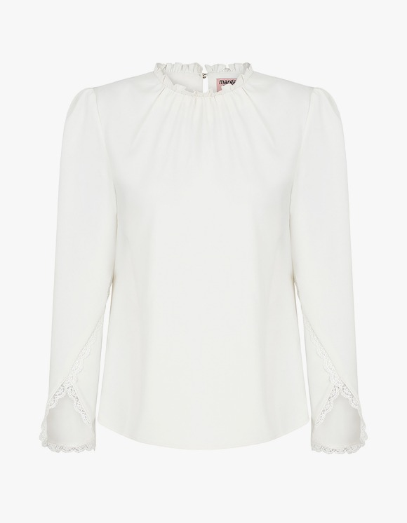 Margarin Fingers Lace Trim Blouse - Ivory | HEIGHTS. | 하이츠 온라인 스토어