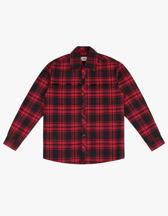 CLIF Raw Cut Check Shirt - Red | HEIGHTS. | 하이츠 온라인 스토어