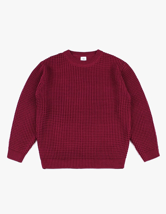 CLIF Oversize Waffle Knit - Burgundy | HEIGHTS. | 하이츠 온라인 스토어