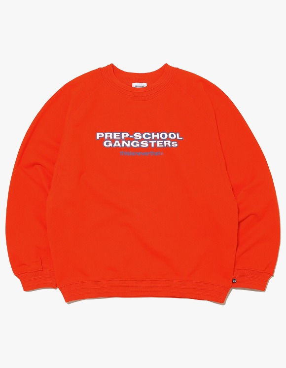 thisisneverthat Prep-School Gangsters Crewneck - Orange | HEIGHTS. | 하이츠 온라인 스토어
