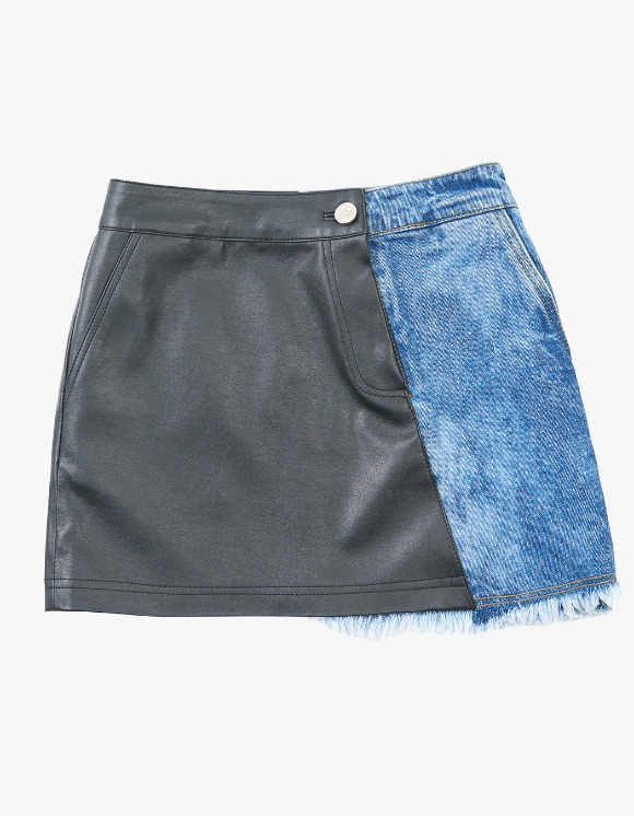 eyeye Denim Leather Combination Skirt - Blue | HEIGHTS. | 하이츠 온라인 스토어