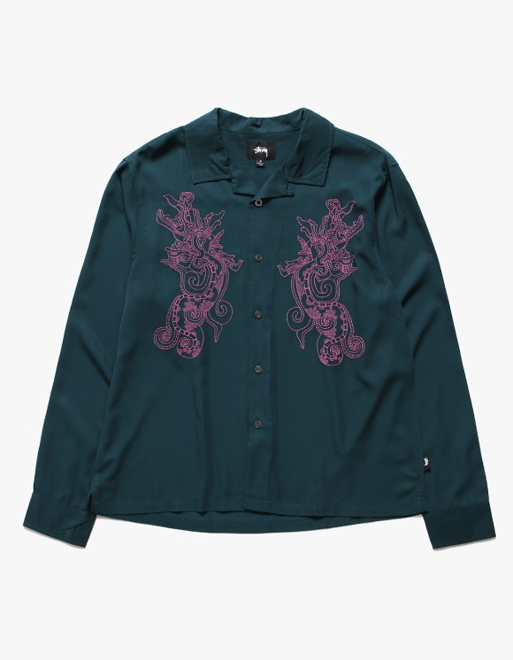 Stussy EMB. Dragon LS Shirt - Pine | HEIGHTS. | 하이츠 온라인 스토어