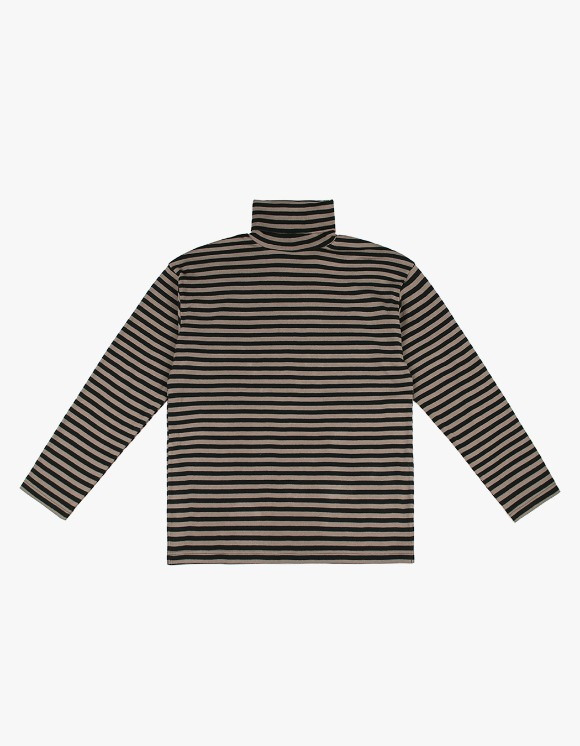 CLIF Turtle Neck Stripe Tee - Brown | HEIGHTS. | 하이츠 온라인 스토어