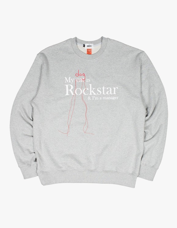 JOEGUSH My (Dog) is Rockstar & I'm a manager SWEATSHIRT Ver. - Grey | HEIGHTS. | 하이츠 온라인 스토어