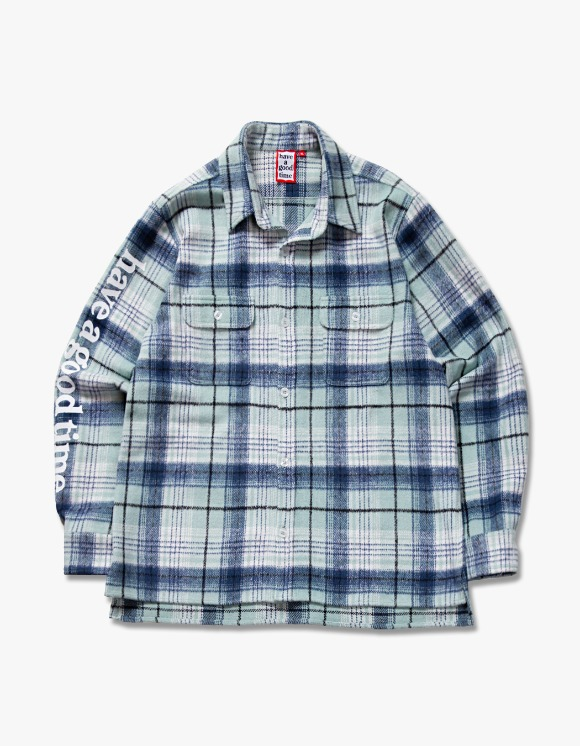 have a good time Side Logo Checked Shirts - Green | HEIGHTS. | 하이츠 온라인 스토어