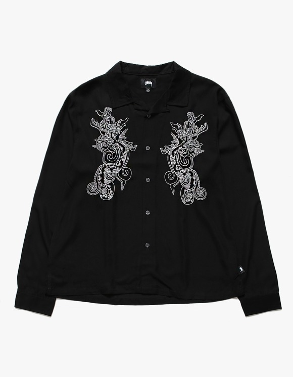 Stussy EMB. Dragon LS Shirt - Black | HEIGHTS. | 하이츠 온라인 스토어