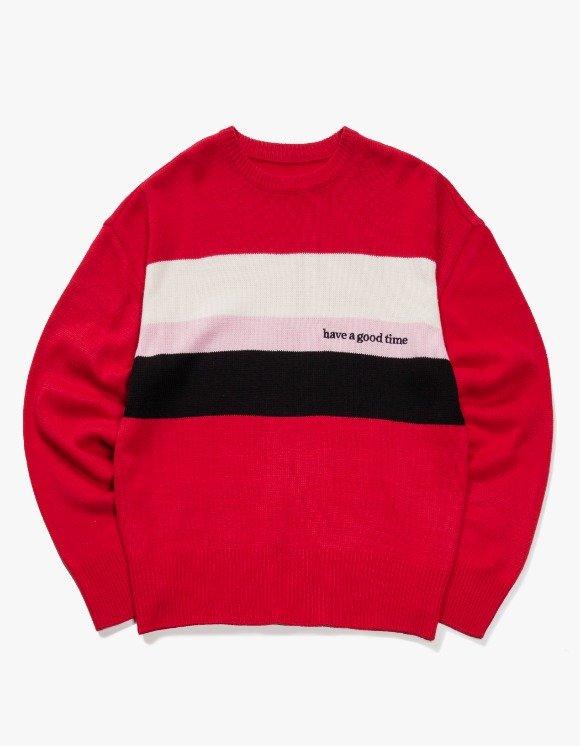 have a good time Side Logo Heavy Knit Sweater - Red | HEIGHTS. | 하이츠 온라인 스토어