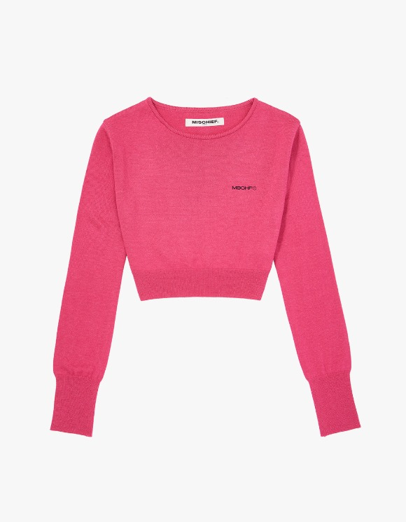 MISCHIEF Cropped Knit Top - Pink | HEIGHTS. | 하이츠 온라인 스토어