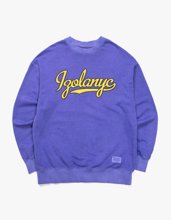 IZOLA NYC Over Dyed Varsity Crewneck  - Purple | HEIGHTS. | 하이츠 온라인 스토어