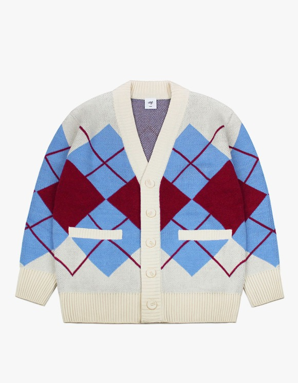 CLIF Over Size Argyle Check Cardigan - Ivory/Blue | HEIGHTS. | 하이츠 온라인 스토어