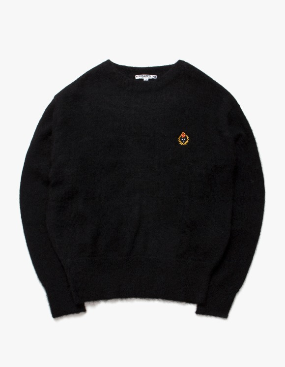Heritage Floss HFC Crest Mohair Crewneck - Black | HEIGHTS. | 하이츠 온라인 스토어