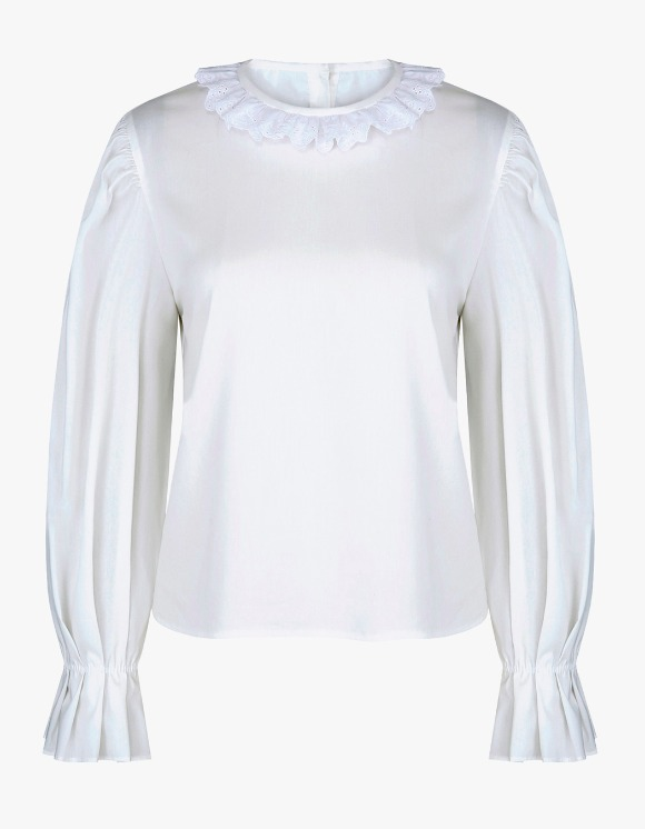 Margarin Fingers Frill Point Blouse - White | HEIGHTS. | 하이츠 온라인 스토어