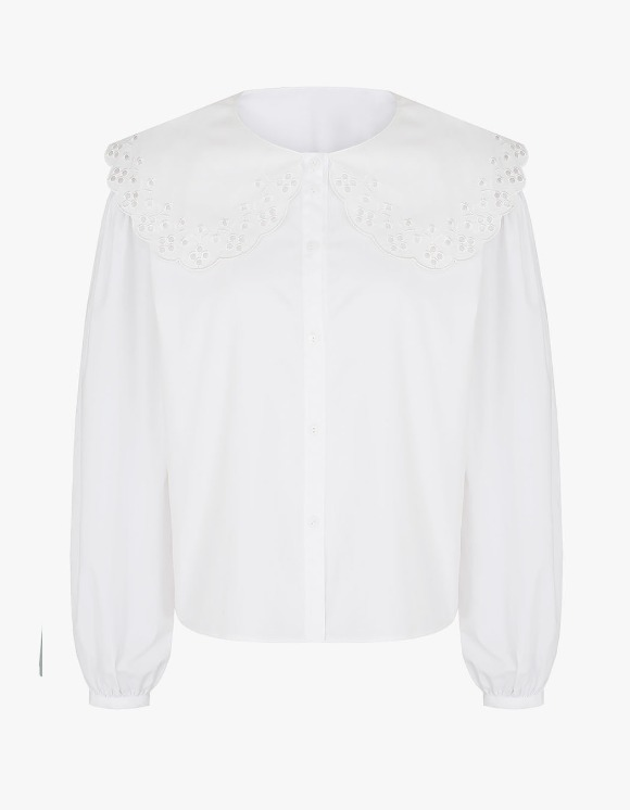 Margarin Fingers Big Collar Blouse - White | HEIGHTS. | 하이츠 온라인 스토어