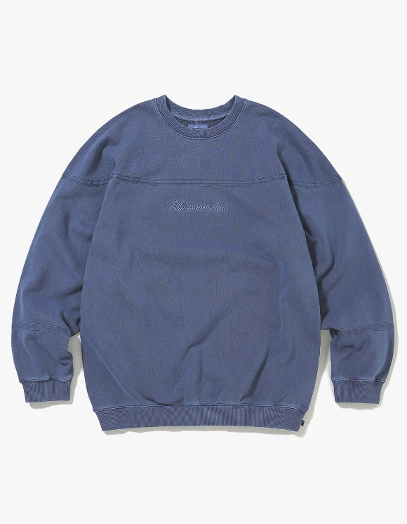thisisneverthat Pigment Script Crewneck - Navy | HEIGHTS. | 하이츠 온라인 스토어