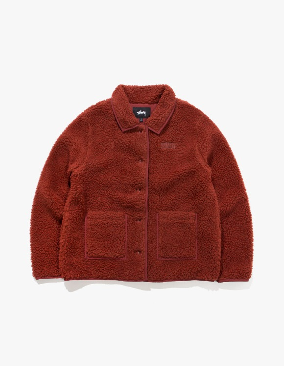 Stussy Sherpa Button Down Jacket - Clay | HEIGHTS. | 하이츠 온라인 스토어