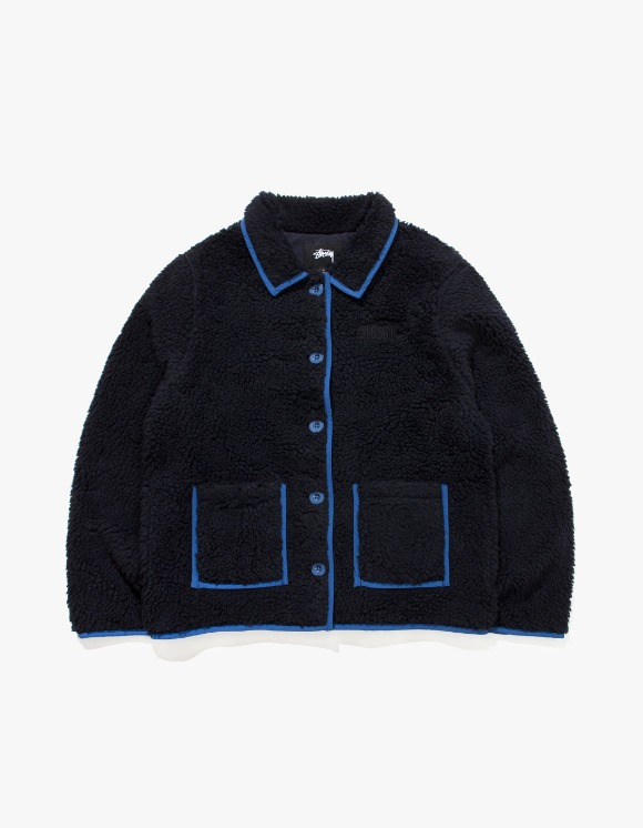 Stussy Sherpa Button Down Jacket - Black | HEIGHTS. | 하이츠 온라인 스토어