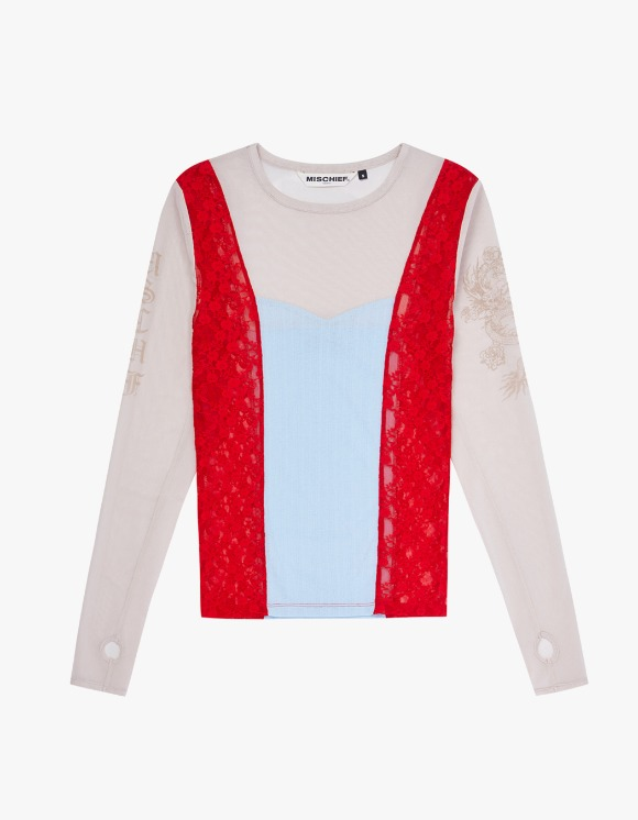 MISCHIEF Mesh Patchwork Fitted Long Sleeve - Beige/Red/Sky Blue | HEIGHTS. | 하이츠 온라인 스토어