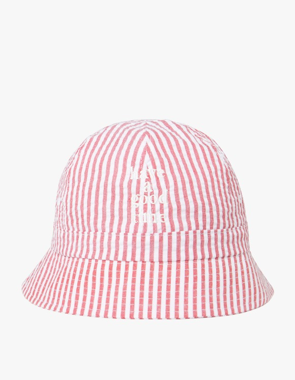 have a good time Striped Seersucker Logo Bucket Hat - Red | HEIGHTS. | 하이츠 온라인 스토어